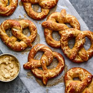 Soft Pretzels with Mustard Butter