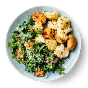 Chicken Sausage and Cauliflower Bake with Crunchy Bread Salad