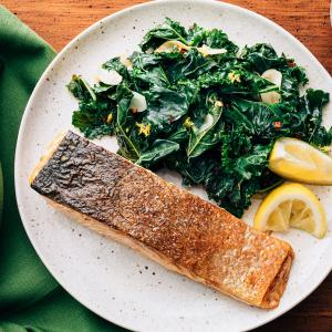 Crispy-Skinned Salmon with Garlicky Kale