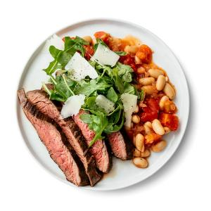 Flank Steak with Italian Style White Beans and Arugula