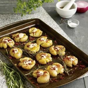 Smashed Potatoes with Turkey Bacon, Rosemary and Garlic Aioli