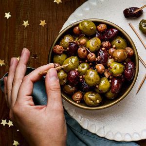 Lemon and Garlic Roasted Olives