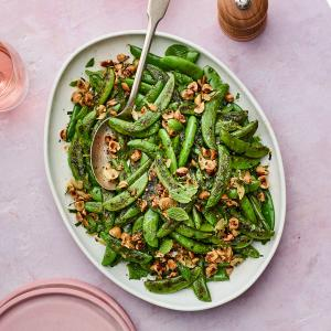 Charred Snap Peas with Hazelnuts and Mint