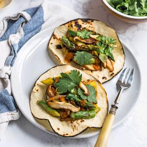 Spring Vegetable Stir-Fry with Tortillas and Hot Sauce