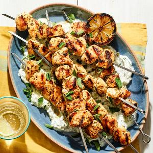 Grilled Greek Chicken Skewers with Tzatziki