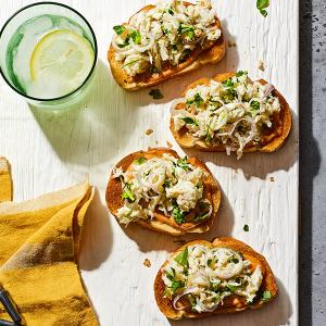 Crab Toasts with Smoky Garlic Mayo