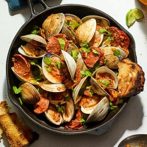 Grilled Clams with Chorizo and Beer