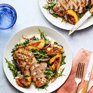 Grilled Pork and Peaches over Arugula