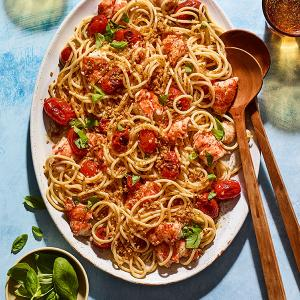 Lobster Pasta with Burst Tomatoes and Lemony Breadcrumbs