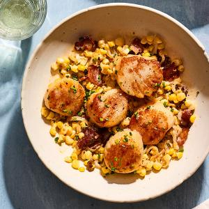 Seared Scallops with Corn and Bacon