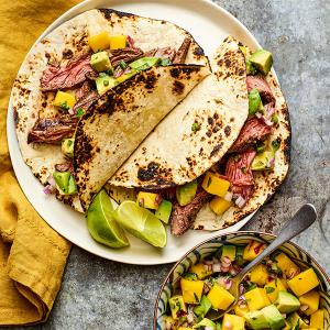 Tequila-Marinated Steak Tacos with Mango Salsa