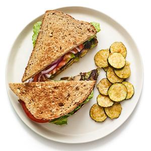 Veggie Club Sandwich with Parmesan Zucchini
