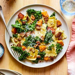 Brown Butter Ravioli with Butternut Squash and Kale