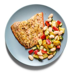 Honey-Mustard Salmon with Squash and Bean Salad