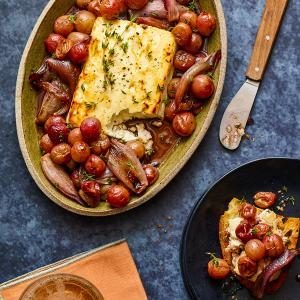 Roasted Feta with Shallots and Grapes