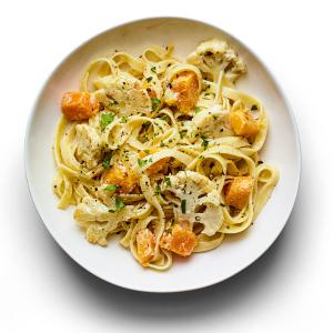 Fettuccine with Butternut Squash and Cauliflower