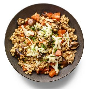 Cheesy Barley with Mushrooms and Sweet Potatoes