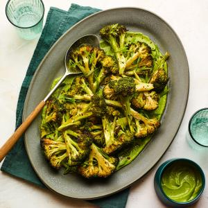 Charred Broccoli with Vegan Green Goddess Sauce
