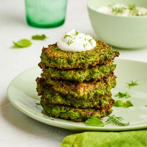 Pea and Herb Fritters with Lemon Yogurt Sauce