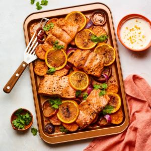 Sheet-Pan Salmon with Sweet Potatoes and Oranges