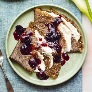 Buckwheat Crepes with Ricotta and Cherry Sauce