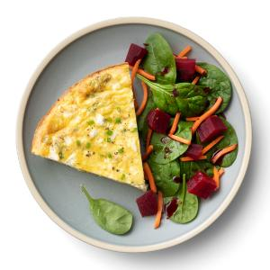 Cheesy Potato Frittata with Spinach Salad