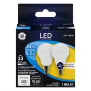GE LED 5.5w Soft White Frosted Ceiling Fan Bulbs