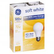 GE 100w Soft White Energy Efficient Incandescent Bulbs
