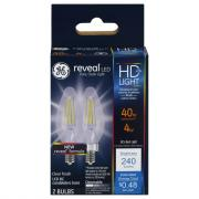 GE LED Reveal HD 4w (40w Replacement) Clear Candle Bulbs