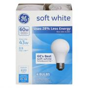 GE 60w Soft White Energy Efficient Incandescent Bulbs