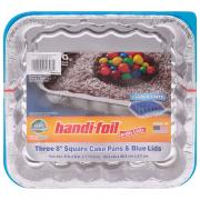 ECO-Foil Fun Colors Square Cake Pans with Blue Lids