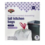 Hannaford Tall Kitchen Drawstring Bags w/Lavender Odor Guard