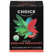 Choice Tea Organic English Breakfast Tea Bags