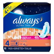 Always Ultra Thin Overnight Pads with Wings
