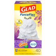 Glad Odor Shield Tall Kitchen Drawstring Bags Lavender
