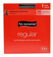 No nonsense Queen Size Regular Black Pantyhose