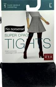 No nonsense Control Top So Opaque Tights, Gray Size Large
