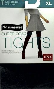 No nonsense Control Top So Opaque Tights, Gray Size X-Large