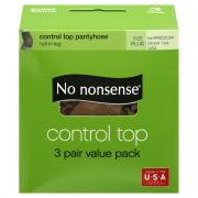 No nonsense Control Top Queen Size Tan Pantyhose