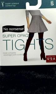 No nonsense Control Top So Opaque Tights, Gray Size Small