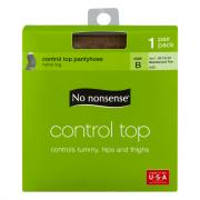 No nonsense Control Top Tan Reinforced Toe Pantyhose