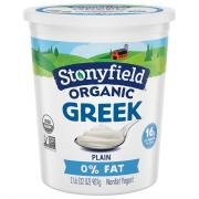 Stonyfield Organic Fat Free Greek Yogurt Plain