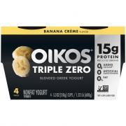 Dannon Oikos Triple Zero Banana Creme Greek Nonfat Yogurt