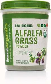 Bare Organics Raw Alfalfa Grass Powder
