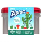 Ziploc Holiday Medium Square Red Containers and Lids