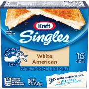 Kraft White American Cheese Food Singles