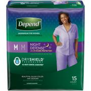 Depend Night Defense Women's Medium Overnight Absorbency