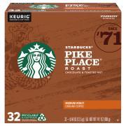 Starbucks Pike Place Medium Roast Ground Coffee K-cups