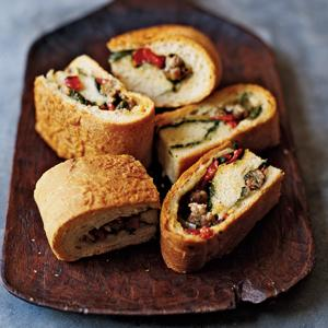 Sausage and Spinach Stuffed Cheese Bread