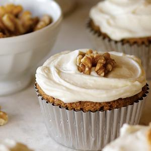 Carrot Walnut Cupcakes with White Chocolate Cream Cheese Frosting